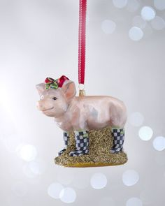 MacKenzie-Childs Pig in Courtly Check Boots Christmas Ornament $88.00