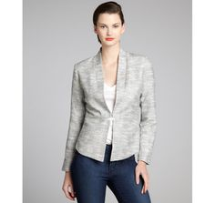 Nell black and white tweed cotton blend lurex 'Moscow' jacket