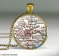 Londen kaart ketting by Resincherry via DaWanda