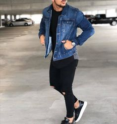 Trendy Mens Fashion, Stylish Mens Outfits, Latest Men Fashion, Casual Outfits, Denim Jacket Fashion, Denim Outfits, Black Denim Jacket Men, Lookbook Mode, Winter Outfits Men