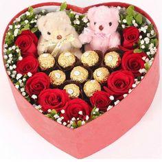 Heart Shape Fresh Flower Box Arrangement   www.dcfloristngift.com