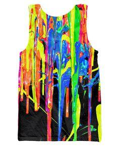 Neon Tiger  Head Singlet Summer Festival Fashion Rave Aztec Style Tank Vest Top