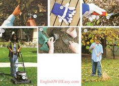 14. clippers 15. gardening gloves 16. trowel 17. lawn mower Actions 18. mow the lawn 19. plant flowers 20. rake (the) leaves Photo Dictionary, Dictionary For Kids, Garden Hose, Garden Tools, Yard Waste, Work Gloves, Gardening Gloves, Flower Beds, Daffodils