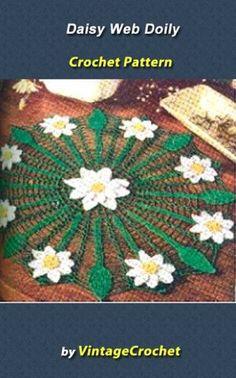 Daisy+Web+Doily+Vintage+Crochet+Pattern+eBook