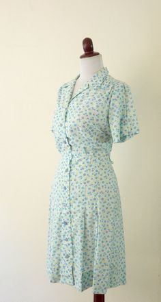Vintage 1950s Blue Floral Cotton Dress by RetroKittenVintage, $38.00