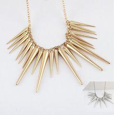 Punk Style Gold&Silver Plated Rivet Choker Tassel Collar Necklace Women Jewelry
