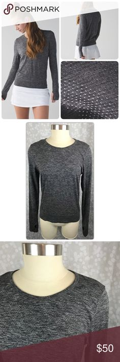 Lululemon Breeze By Long Sleeve Crew Neck LS A successful cocktail party and this breezy long sleeve share one key quality: plenty of circulation. We kept things snug in the arms and waistband, but looser through the body to let air move through and threw in some open-hole ventilation for good measure.  * Silverescent® technology, powered by X-STATIC®, inhibits the growth of odour-causing bacteria on the top * wide waistband prevents ride-up when you're in motion * thumbholes make layering…