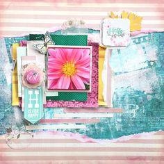 Scrapbooking Layout full of pink and blue, scrapbook, lo, mixmedia, mixedmedia