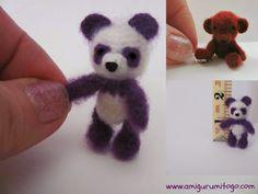 Amigurumi To Go: Miniature Purple Panda Crochet Thread Pattern