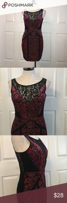 """Ecote Burgundy & Black Lace Dress Wore this once, very lovely. Sleeveless, color blocking Burgundy with floral print and lace in the mix. Size medium. Material 92% polyester 8% spandex. Lace portion only Sheer at the center front V and top back portion. Bottom and bust is lined. Front length 33.5"""", waist 14.5"""", bust 18"""". No zipper, over the head to wear. Ecote Dresses Mini"""