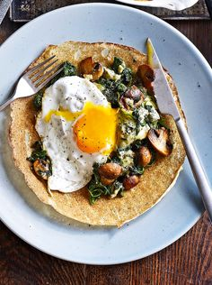 A gorgeous savoury pancake recipe stuffed with stilton and spinach and then topped with a soft poached egg.