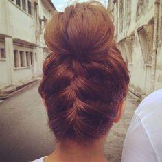 backwards braid bun