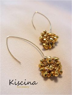 Gold Bead Cluster Earrings