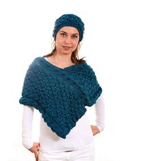 CIJ Sale  Knitted Poncho Shawl with Headband by by Solandia, $215.00