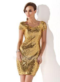 Sheath/Column Scoop Neck Short/Mini Sequined Cocktail Dress (016008278)