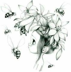 Menina com abelhas