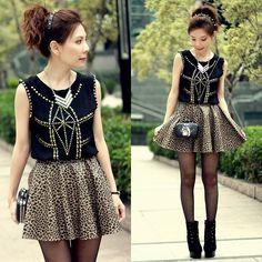 Sheinside Gold Studded Top, Rottweiler Clutch Bag, Leopard Print Faux Leather Skirt
