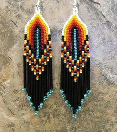 Items similar to Native American Style Beaded Earrings on Etsy Beaded Earrings Native, Beaded Earrings Patterns, Native Beadwork, Earrings Handmade, Bracelet Patterns, Seed Bead Jewelry, Bead Jewellery, Seed Bead Earrings, Seed Beads