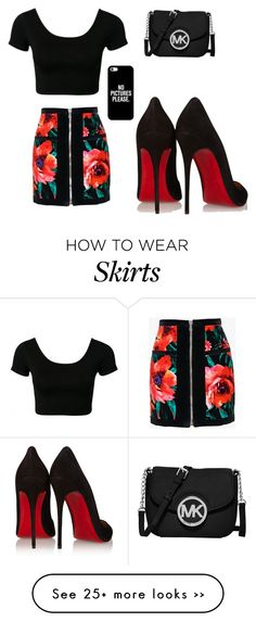 """""""Black crop top, Black floral zip up high waisted skirt, red pumps,iphone, and black crossbody/shoulder MK bad"""" by diamond-burton1 on Polyvore"""
