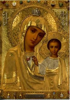 Icon - Our Lady of Kazan - In St Petersburg. My favourite Icon Religious Images, Religious Icons, Religious Art, Blessed Mother Mary, Blessed Virgin Mary, Queen Of Heaven, Mama Mary, Russian Icons, Mary And Jesus
