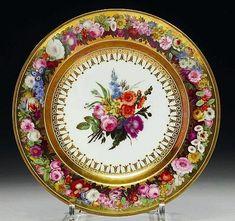 ASSIETTE EN PORCELAINE DE SEVRES D'EPOQUE EMPIRE DATEE 1809