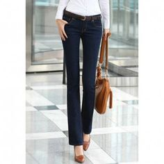 Cheap Wholesale Women's OL Style Jean Trousers With Bootscut and Solid Color Design (DEEP BLUE,S) At Price 9.49 - DressLily.com