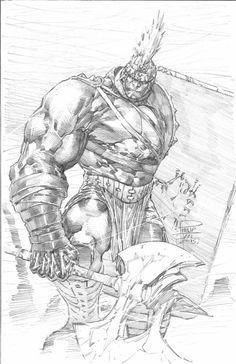 Planet Hulk by Philip Tan, in Albert Oh& Philip Tan Comic Art Gallery Room Comic Book Artists, Comic Artist, Comic Books Art, Hq Marvel, Marvel Comics Art, Hulk Sketch, Planet Hulk, Hulk Art, Comic Drawing