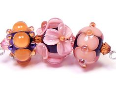 Fall color themed beads - handmade lampwork glass beads by artist Kandice Seeber