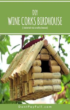 Welcome Spring with These Super Cute Homemade Bird Feeders (and Birdhouses) is part of Cork crafts Birdhouse - This spring make your own gorgeous bird feeder at a low cost! Check out these super cute homemade bird feeders and enjoy birds chirping all day! Homemade Bird Houses, Homemade Bird Feeders, Bird Houses Diy, Bluebird Houses, Wine Craft, Wine Cork Crafts, Bottle Crafts, Wine Cork Birdhouse, Homemade House Decorations