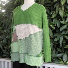 Boho Chic Upcycled Clothing - Handmade Clothing - Ecofriendly - Recycled Clothing - Spring Green - Cotton Sweater - Patchwork - V Neck by ThankfulRose on Etsy