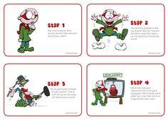 Je zoekt een stappenplan dat je kind zelfstandig leert leren, dat hem structuur biedt. Print deze figuurtjes en hang ze boven de studietafel. Bouw het in alledaagse situaties in en maak van je kind een echte probleemoplosser.