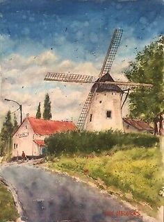 """Original title: """"Old Windmill"""". Original Watercolor on 140 lb acid-free cold press cotton watercolor paper. This is one-of-a-kind Watercolor Original Painting Signed. Truly appreciate your artwork. Watercolor Painting Techniques, Knife Painting, Watercolor Paintings, Impressionist Landscape, Impressionism, Watercolor Rose, Watercolor Paper, Fun Art, Cool Art"""