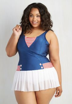 86da79c16aa One-Piece Swimsuit in Plus Size. Set sail for celebrated style in this  covet-worthy and ModCloth-exclusive one piece from Fables by Barrie!