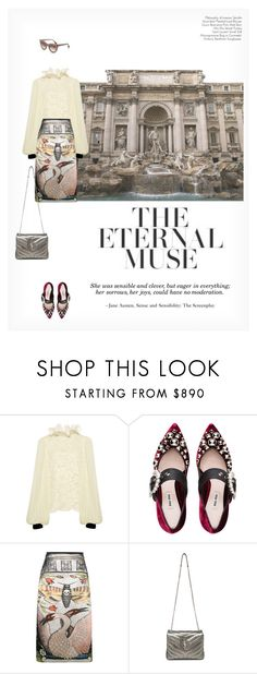 """""""THE ETERNAL MUSE"""" by paint-it-black ❤ liked on Polyvore featuring Philosophy di Lorenzo Serafini, Miu Miu, Gucci and Yves Saint Laurent"""