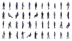 Silhouettes of isometric people include men, women, and children. People Illustrations, Peter Zumthor, Architecture Portfolio, Free Vector Art, Character Design Inspiration, Presentation, Sketch, Trees, Photoshop