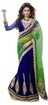 Superb Embroidered Net Velvet Lehenga Saree Sarees on Shimply.com