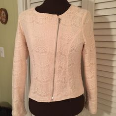 LOOK!  Lovely lace Jacket. Color is more of a blush color,  or the palest of pink.  Completely lined.  Metal Zipper slants going up.  Very very beautiful.  Would really dress up a pair of Jeans. Forever 21 Jackets & Coats