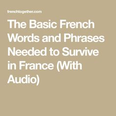 Going to France soon? Discover the basic French words and phrases you need to know to communicate with locals! Basic French Words, France Travel, Need To Know, Survival, Audio, Europe, America, Usa