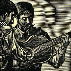 Woodcut, De Francisco Moreno Capdevila, from El Coyote—Corrido De La Revolucion, Celedonio Serrano Martinez, Mexico, 1951