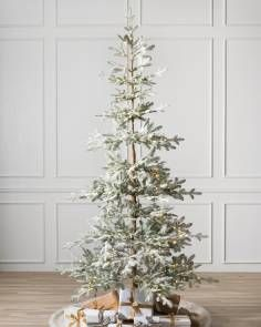 Balsam Hill Frosted Alpine Balsam Fir Artificial Christmas Tree, Green, Most Realistic, Easy Setup, LED Celestial Fairy Lights with Open Branches