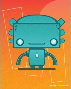 Cute Aqua Robot Art Print