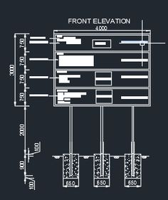 AutoCad format drawings  Typical details plan and section of project sign board drawings is ...