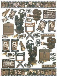 Objetos para DG: dibujo, cine, película, cinta, proyector, silla, claqueta, pizarra, toma, film, rollo