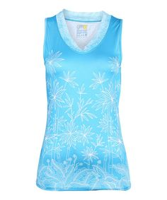 Love this Blue Mesh Elemental Mountain V-Neck Tank by YMX on #zulily! #zulilyfinds