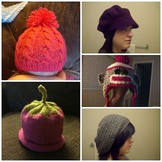 Homemade by Giggles: Stuff I've Made! Knit Hats Crochet Hats Sock Monkey Strawberry Pom Pom Slouch Hat Engineer Cap