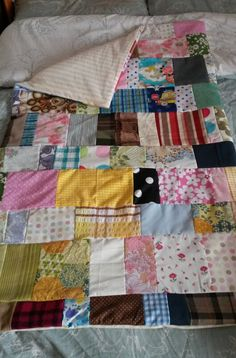 Hand-made large multi-patchwork scrap basket baby/cot blanket/quilt