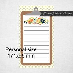 Personal planner insert or dashboard - beautiful print for your filofax or other planner - digital instant download