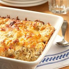 Try this cheesy potato casserole for a simple and tasty weeknight dinner.--Easter