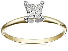 IGI Certified 14k Yellow Gold PrincessCut Diamond Solitaire Engagement Ring 34 cttw IJ Color I1I2 Clarity Size 8 ** Read more at the image link.