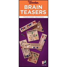 Wooden Teasers Set: With everything you need to play the classic games of Insanity, Mind Magic, Starburst, Roll-Em, Finish Line, Roundabout and Tic Tac Toe, this 7-in-1 set of wooden brain teasers promises hours of fun.  $12.99  http://calendars.com/MindBender-Puzzles/Wooden-Teasers-Set/prod201200010305/?categoryId=cat430024=cat430024#